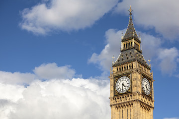 Big Ben isolated against a cloudy summer sky