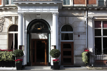 Entrance to small luxury Hotel in London