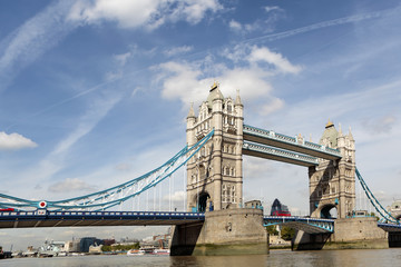 Tower Bridge landscape with red London bus