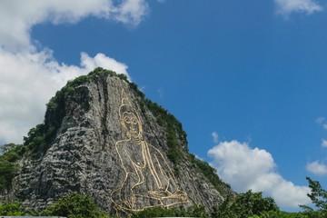 buddha image and mountain