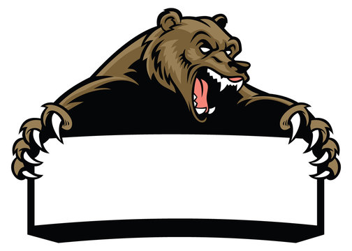 grizzly bear hold the blank sign