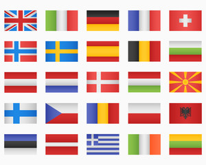 Set of European countries Flags