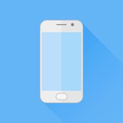 White mobile phone flat icon