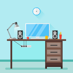 Flat design vector illustration of modern home workplace. Workspace with objects, equipment. Room interior.