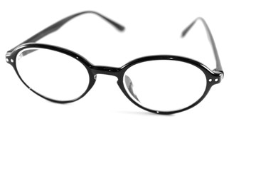 black glasses on white background