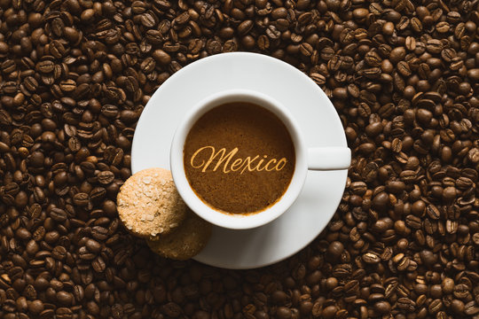 Still life - coffee wtih text Mexico