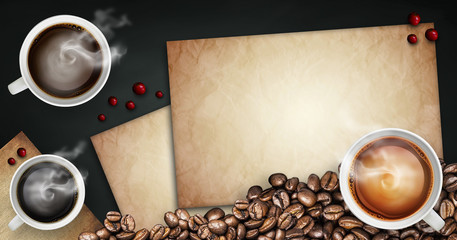 black coffee and beverage background