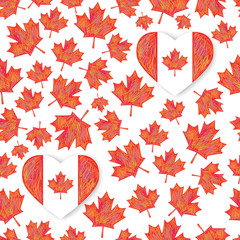 Seamless pattern with maple leafs. Canada Day Heart design vector illustration