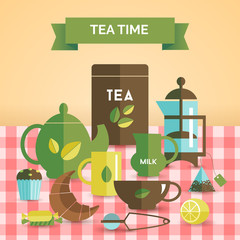 Tea time vintage decorative poster print