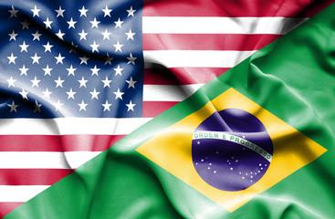 Waving flag of Brazil and USA