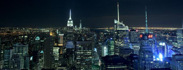 NEW YORK CITY - JUNE 13 2015: New york cityscape at night from Rockfeller Center