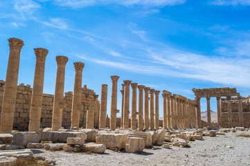 The Great Colonnade at Palmyra, the main colonnaded avenue in the ancient city of Palmyra in the Syrian Desert.