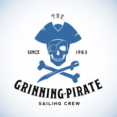 The Grinning Pirate Sailing Crew Abstract Vector Retro Logo