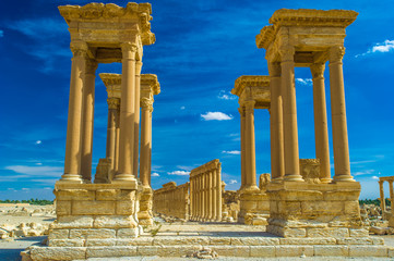 Ancient ruins in the desert of Palmyra, Syria