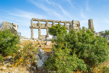Ruins of the ancient castle in Syria