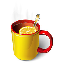 Cup of tea yellow, red with a slice of lemon.