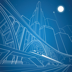 Train move on the bridge, night city and big bridge on background