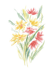 Vector Floral of Painted Colorful Flowers Watercolor
