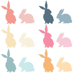 Colorful Easter Bunny Silhouette
