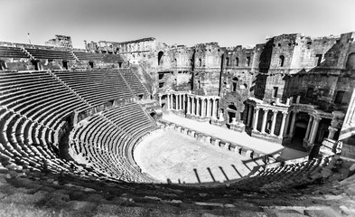 The 2nd century Roman theater (in black and white), constructed probably under Trajan. Ancient City of Bosra, UNESCO World Heritage,