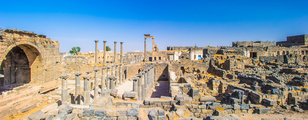 Roman ruins north of the citadel. City of Bosra, Syria. UNESCO world heritage
