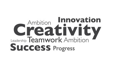creativity and success typography on white background
