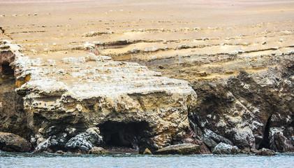 Rocks of Ballestas Islands, a group of small islands near the town of Paracas, Peru, South America