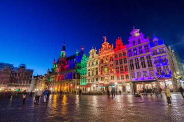 Grand Place with colorful lighting at Dusk in Brussels