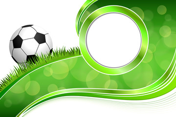 Background abstract green grass football soccer ball frame circle illustration vector