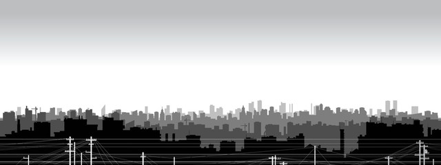 Panoramic view  of black and white city silhouette.
