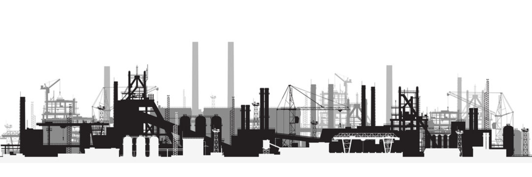 Panoramic view of industrial landscape.