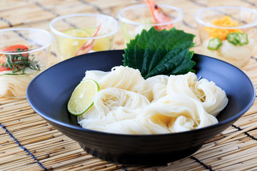 Cold somen, Japanese thin wheat noodles
