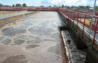 Wastewater basin system in treatment plant