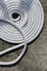 boat rope swirled on deck