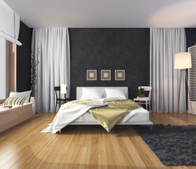 Modern interior of a bedroom with a wall of dark color, bed and