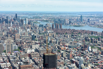 NEW YORK - USA - 13 JUNE 2015 manhattan aerial view from freedom tower