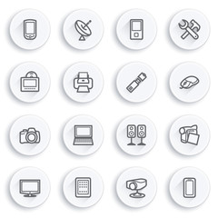 Electronics flat contour icons on white buttons.