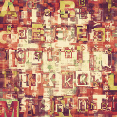 Red grunge newspaper, magazine collage letters background