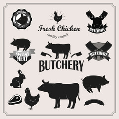 Retro butchery, steak house and meat shop logotypes set