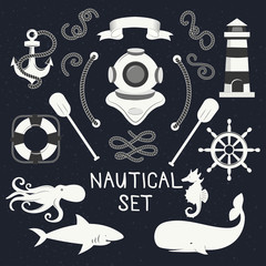 Hand Drawn nautical design elements and objects set