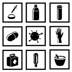 Black medical and health vector icons