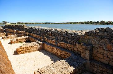 Muro de contención del embalse romano de Proserpina, Mérida, provincia de Badajoz, España