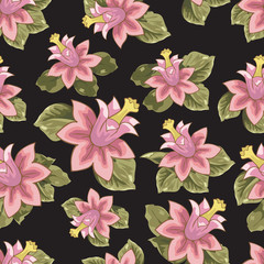 Seamless patterns with flowers vector, illustration, background
