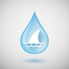 Long shadow water drop icon with a shark fin