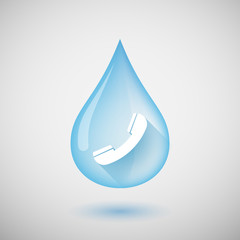 Long shadow water drop icon with a phone