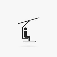 Simple icon chair lift for skiers.