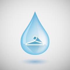 Long shadow water drop icon with a hanger