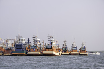 Fishing boats at the harbor in Thailand
