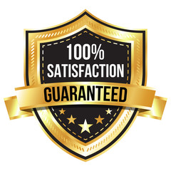 Gold 100% Satisfaction Guaranteed Shield and Ribbon