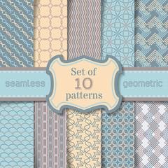 Vector set of seamless geometric patterns.